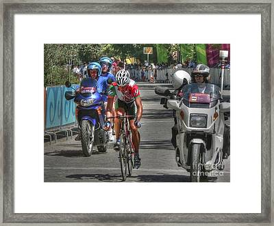 Road Race Leader In Athens Framed Print by David Bearden