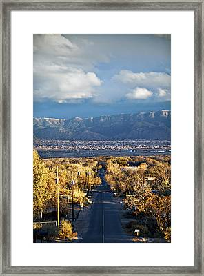 Road To Sandia Mountains Framed Print by Ray Laskowitz - Printscapes