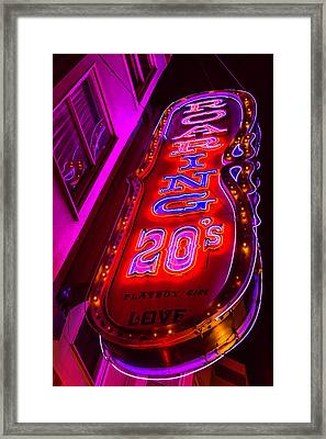 Roaring 20's Neon Framed Print by Garry Gay