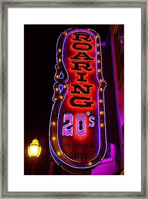 Roaring 20's Neon Sign Framed Print by Garry Gay