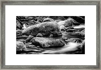 Roaring Fork Mossy Rock - Classic Bw Framed Print by Stephen Stookey