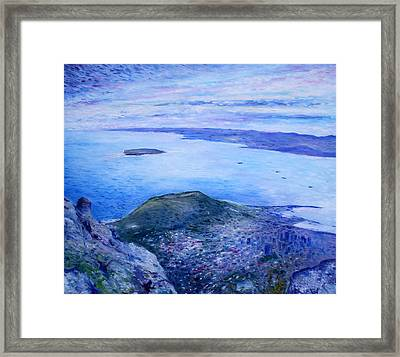 Robben Island From Table Mountain Cape Town South Africa Dawn 2000  Framed Print by Enver Larney