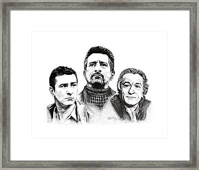 Robert De Niro Pen And Ink Drawing In Black And White Framed Print by Mario Perez