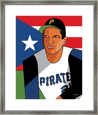 Roberto Clemente Framed Print by Ron Magnes