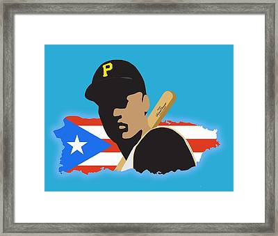 Roberto Clemente T-shirt Graphics Framed Print by Ron Regalado