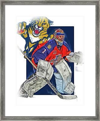 Roberto Luongo Florida Panthers Oil Art Framed Print by Joe Hamilton