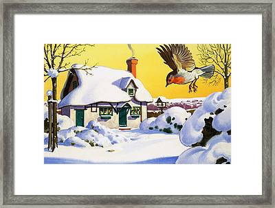 Robin Flying In The Snow Framed Print by English School