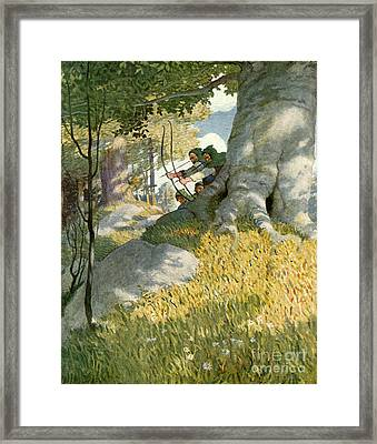 Robin Hood And His Companions Rescue Will Stutely Framed Print by Newell Convers Wyeth