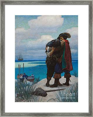 Robinson Crusoe Saved Framed Print by Newell Convers Wyeth