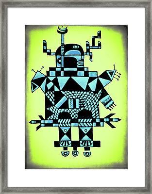 Robot Blue Framed Print by Jarmila Kostliva