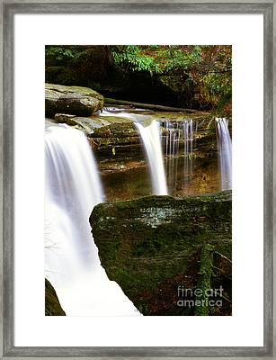 Rock And Waterfall Framed Print by Thomas R Fletcher