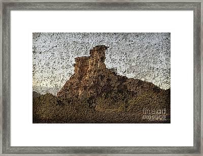 Rock Formation On Adobe Wall Framed Print by Dave Gordon