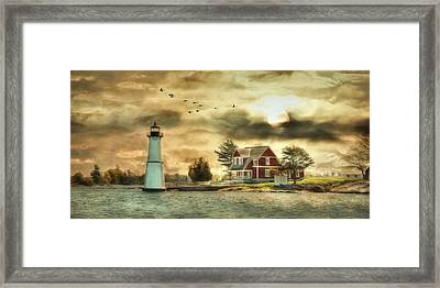 Rock Island Sunrise Framed Print by Lori Deiter