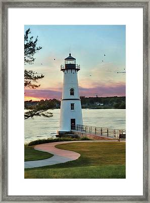 Rock Island Sunset Framed Print by Lori Deiter