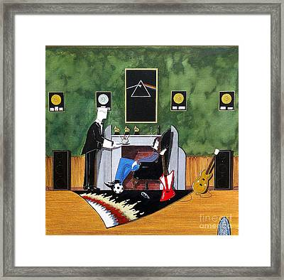 Rock Star Sitting In Chair Served A Sundae By Butler Framed Print by John Lyes