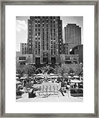 Rockefeller Center Plaza Framed Print by Underwood Archives
