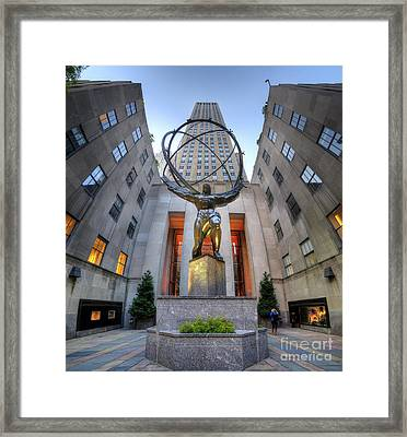 Rockefeller Centre Atlas - Nyc - Vertorama Framed Print by Yhun Suarez