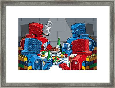 Rockem Sockem Poker Night Framed Print by Ron Magnes