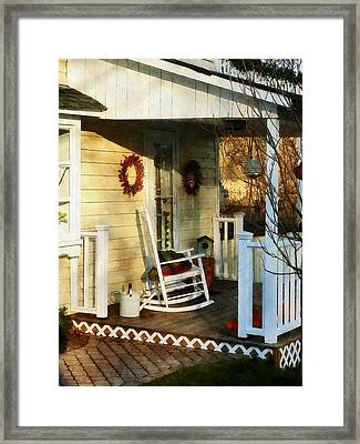 Rocking Chair On Side Porch Framed Print by Susan Savad