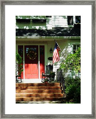 Rocking Chairs By Red Door Framed Print by Susan Savad