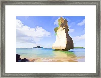 Rocks And Sea Framed Print by Lanjee Chee