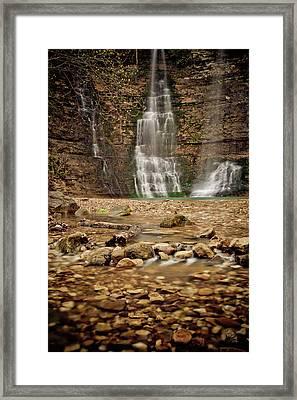 Rocks And Waterfalls Framed Print by Iris Greenwell