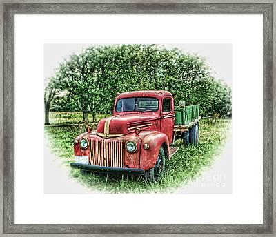 Rocks Old Truck Framed Print by Pamela Baker