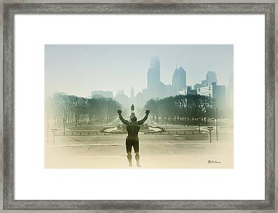 Rocky At The Top Of The Steps Framed Print by Bill Cannon