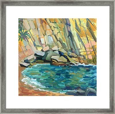 Rocky Cove Framed Print by Katia Weyher