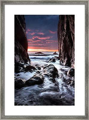 Rocky Cove Sunset Framed Print by Leland D Howard