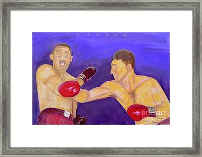 Rocky Marciano - Joe Louis - Original Oil Painting Framed Print by Anthony Morretta