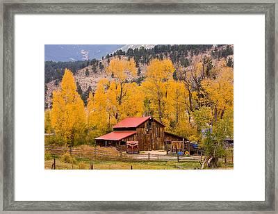 Rocky Mountain Autumn Ranch Landscape Framed Print by James BO  Insogna