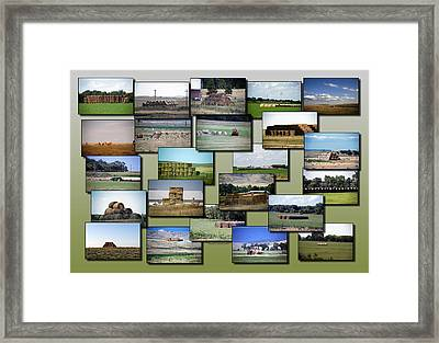 Rocky Mountain Hay Rolls Stacks Collage Framed Print by Thomas Woolworth
