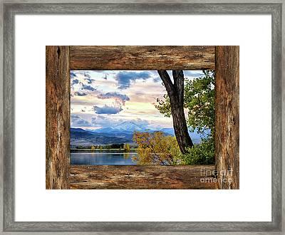 Rocky Mountain Longs Peak Rustic Cabin Window View Framed Print by James BO Insogna
