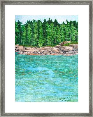 Rocky Shore Framed Print by Ronine McIntyre