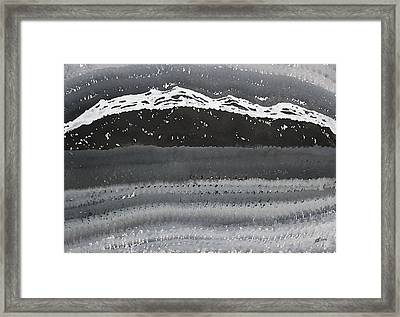 Rocky Winter Nocturne Original Painting Framed Print by Sol Luckman