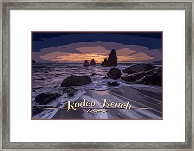 Rodeo Beach Vintage Tourism Poster Framed Print by Rick Berk
