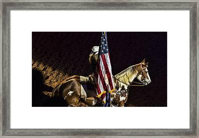Rodeo Patriotism Framed Print by Stephen Stookey