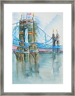 Roebling On The Ohio River Framed Print by Elaine Duras