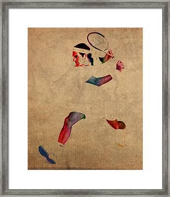 Roger Federer Watercolor Portrait On Worn Canvas Framed Print by Design Turnpike