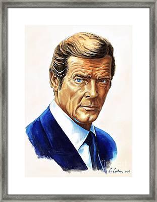 Roger Moore - James Bond Framed Print by Spiros Soutsos