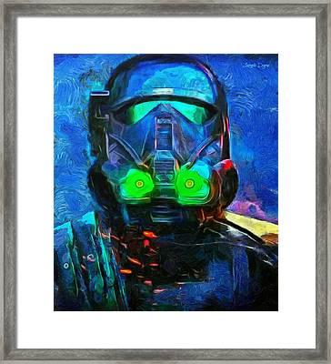 Rogue  One Fighter - Da Framed Print by Leonardo Digenio