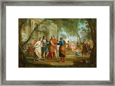 Roland Learns Of The Love Of Angelica And Medoro  Framed Print by Louis Galloche
