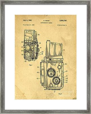 Rolleiflex Medium Format Twin Lens Reflex Tlr Patent Framed Print by Edward Fielding