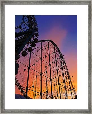 Roller Coaster At Sunset Framed Print by Eena Bo