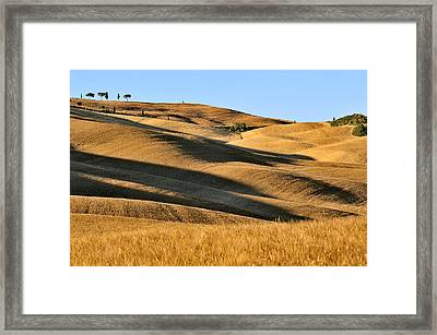 Rolling Hills Of Tuscany Framed Print by Juergen Feuerer