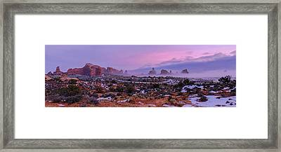 Rolling Mist Through Arches Framed Print by Chad Dutson