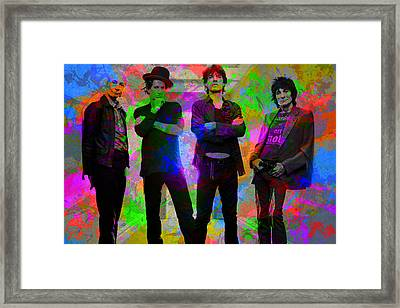 Rolling Stones Band Portrait Paint Splatters Pop Art Framed Print by Design Turnpike