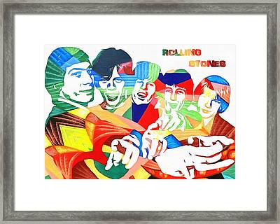 Rolling Stones Colorful Abstract Framed Print by Dan Sproul