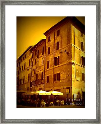 Roman Cafe With Golden Sepia 2 Framed Print by Carol Groenen